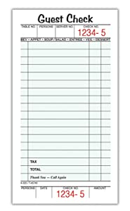 "Adams Guest Check Pads, Single Part, Perforated, White, 3-2/5"" x 6-1/4"", 50 Sheets/Pad, 5 Pads/Pack (525SWMT)"