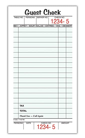 Adams Guest Check Pads Single Part Perforated White 3 2