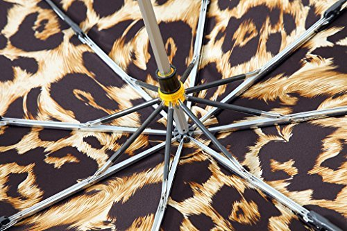 Kobold Tavel Umbrella Compact Mini Lightweight Travel Umbrellas for Women Double Layers Canopy for Rain Sun Protection Comfortable Handle Leopard Print by Kobold (Image #5)