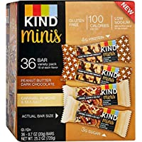 Peanut Butter Dark Chocolate and Caramel Almond & Sea Salt bars,Gluten Free, 1.4 Ounce Bars (.Minis Variety Pack, 36…