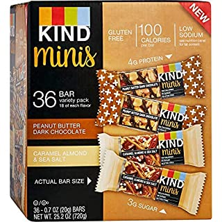 Peanut Butter Dark Chocolate and Caramel Almond & Sea Salt bars,Gluten Free, 1.4 Ounce Bars (.Minis Variety Pack, 36 Bars)