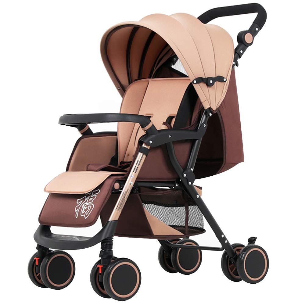 新生児のユニバーサルホイールカートのプッシュロッドの高さ調節可能0-36ヶ月赤ちゃんは座るリクライニングポータブル折りたたみ式ベビーベビーカーフォーシーズンユニバーサルショックプルーフトロリー   B07HB5WTJ9