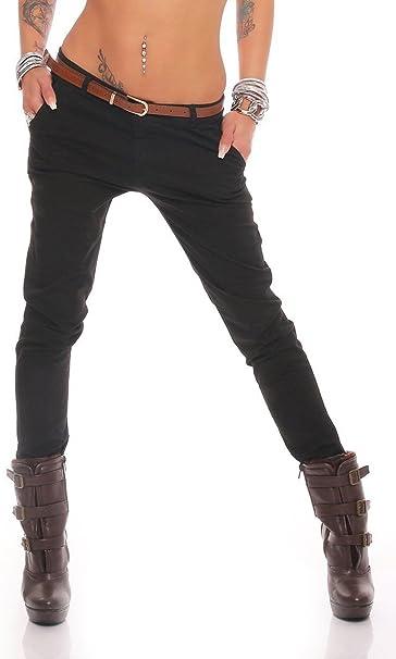 Fashion4Young Damen Skinny Chino Pant Hautenge Treggings Stretch Stoff Damenhose mit Gürtel