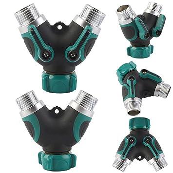 Y Ventil 2 Way Tap Splitter Adapter Wasserhahn Garten Bew/ässerungssystem Werkzeuge Absperrventil Stecker Ventil Adapter Mit 3//4