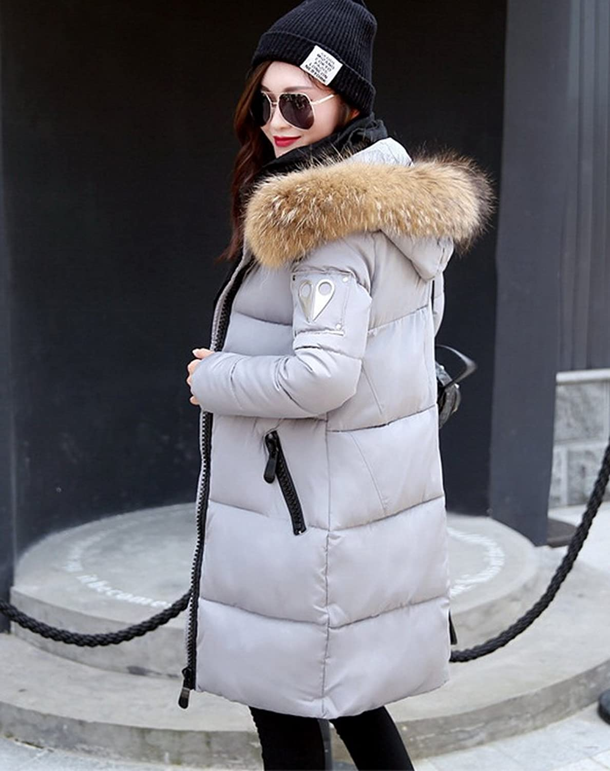 Smile YKK Womens Winter Thickened Long Jacket Down Fur Hooded Light Coat
