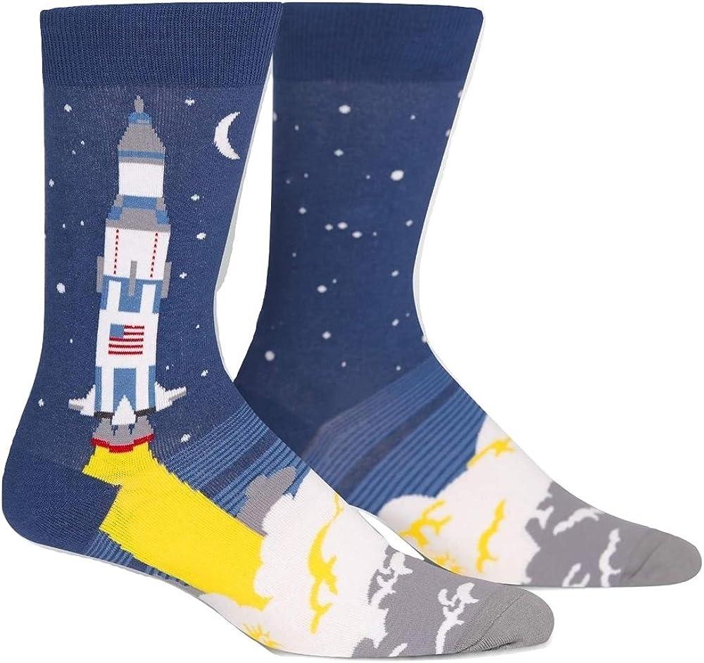 Sock It To Me Men's 3, 2, 1, Lift Off Space Rocket Crew Socks