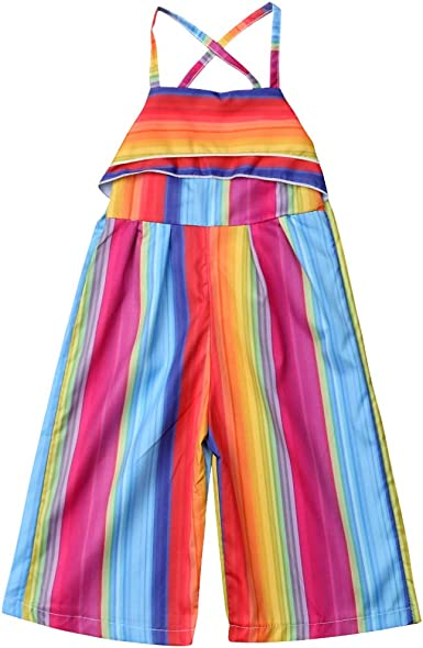 Kids Baby Girls Rainbow Striped Backless Halter Romper Overalls Outfits