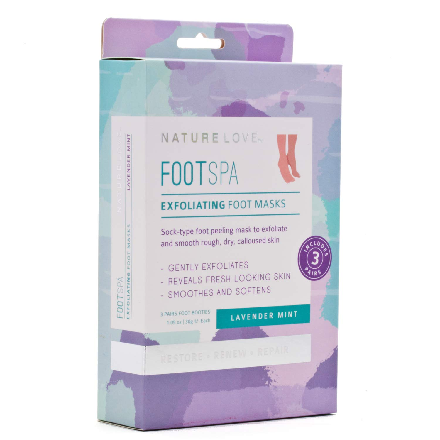 Nature Love Exfoliating Foot Mask, Lavender Mint, 3 pack