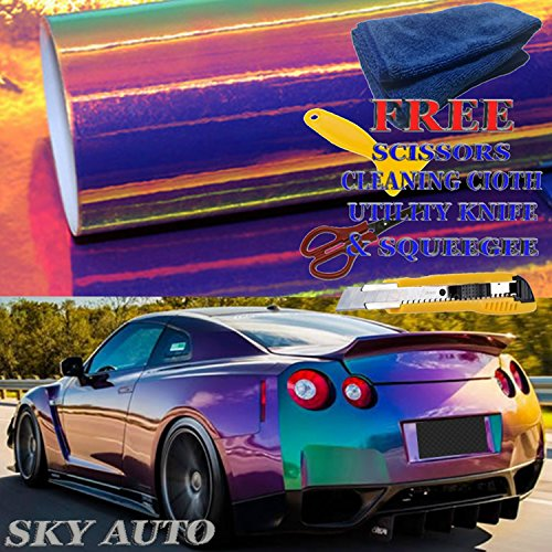 Sky Auto INC Holographic Rainbow PURPLE Neo Chrome Car Vinyl Wrap Sticker Decal Film Sheet Free Air Bubble + Free Cutter, Cleaning cloth, Scissors & Squeegee (12' x 54'/1ft x 4.5ft)