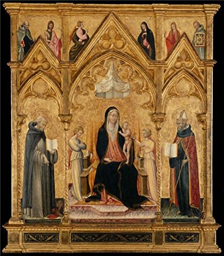 Oil Painting 'Giovanni Di Paolo,Madonna, Child Between Saints Jerome, Augustine,1445-1450', 10 x 11 inch / 25 x 29 cm , on High Definition HD canvas prints, Home Office, Kitchen, Nursery - Center Women's Fair Oaks
