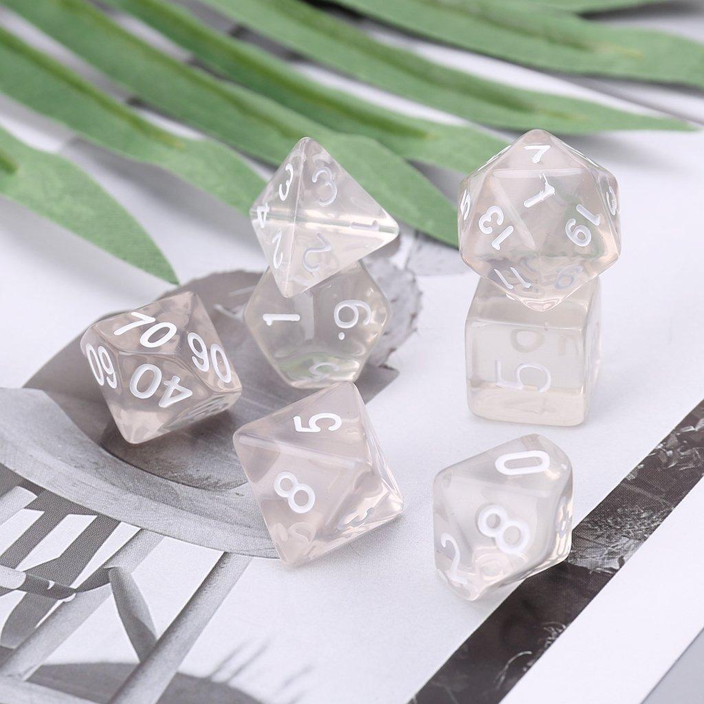 Juego De Dados Polih/édricos De 7 Lados para RPG Dungeons /& Dragons DND D/&D D4-D20 Clear Exing Dados Poliedricos