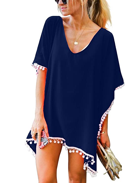 Adreamly Women's Pom Pom Trim Kaftan Stylish Chiffon Swimsuit Beach Cover up Free Size Navy Blue