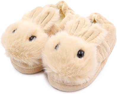 Toddler Girls Fuzzy Slippers Unicorn Tie Dye Fluffy Sandals Cartoon Cute Warm Cozy Plush Slip on Kids House Slippers