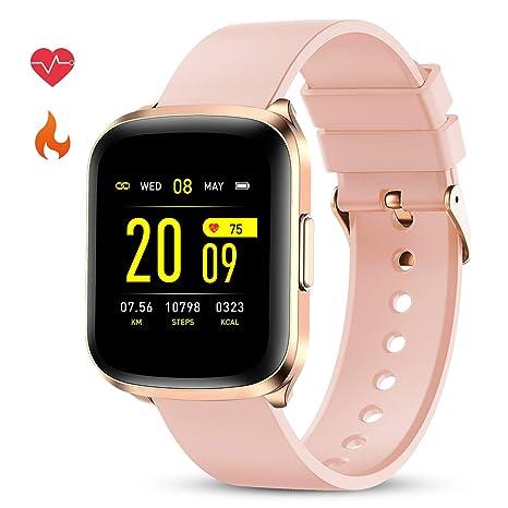 GOKOO Smartwatch Reloj Inteligente Impermeable IP68 Deportivo Pulsera Actividad Mujer Pantalla Táctil Completa Cronómetro Podómetro Pulsómetro con ...