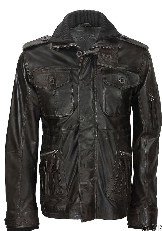 Men's Versatile Brown Sheepskin High Collar Leather Jacket