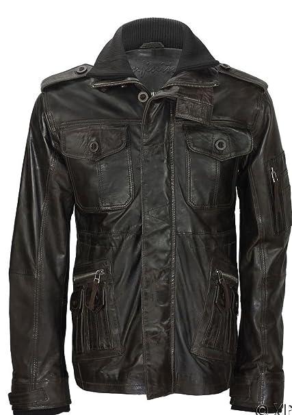 Versátil Marron Cordero Nappa de alta chaqueta de cuello de cuero de los hombres XS
