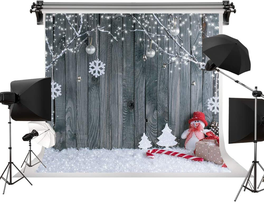 Winter Backdrop Wood Wall Backgrounds Holiday Backdrops Snow Decorative Photography Studio