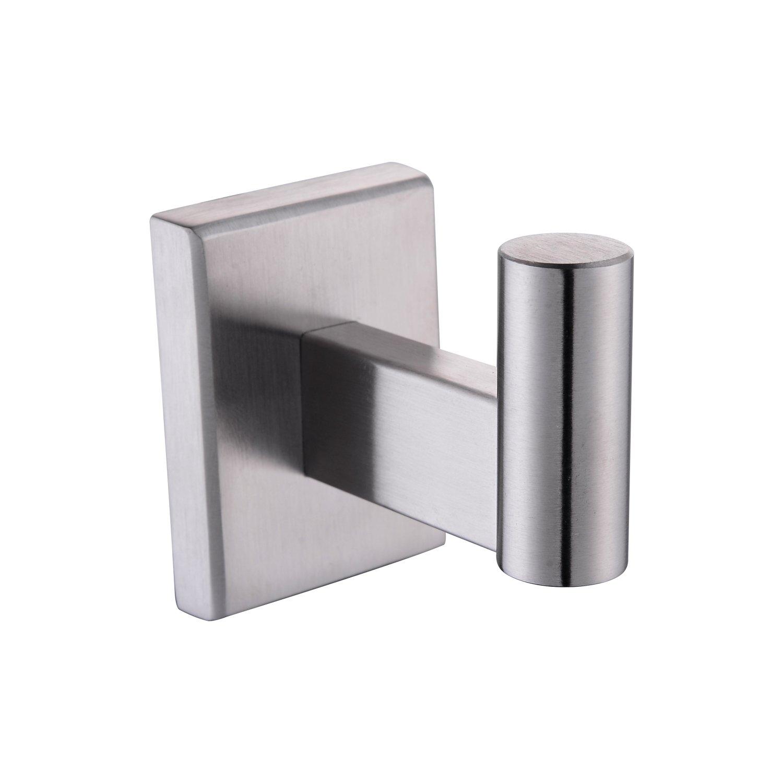 BULUXE Stainless Steel Bath Towel Hook Bathroom Lavatory Coat Hanger Robe Hook with Brushed Nickel, Wall Mount
