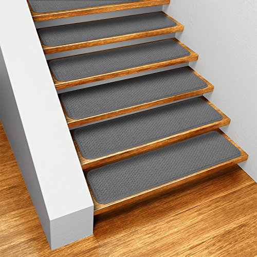 Set of 15 Skid-resistant Carpet Stair Treads - Gray - 9 In. X 36 In. - Several Other Sizes to Choose From