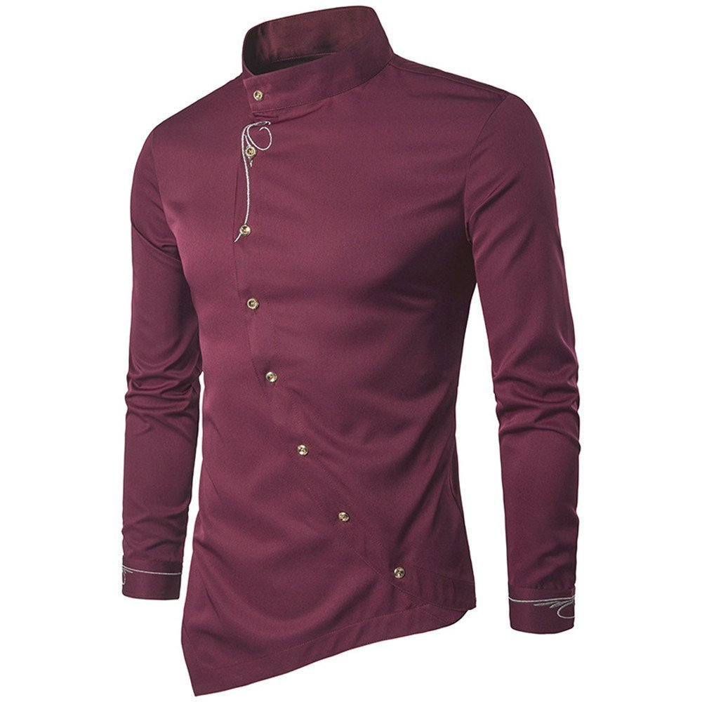 Shirts For Men,HOT SALE ! Farjing Mens Casual Irregular Silm Fit Embroidery Long Sleeve Shirt Tops Blouse