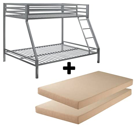 Amazon Com Bundle Set Premium Twin Over Full Silver Bunk Bed 2