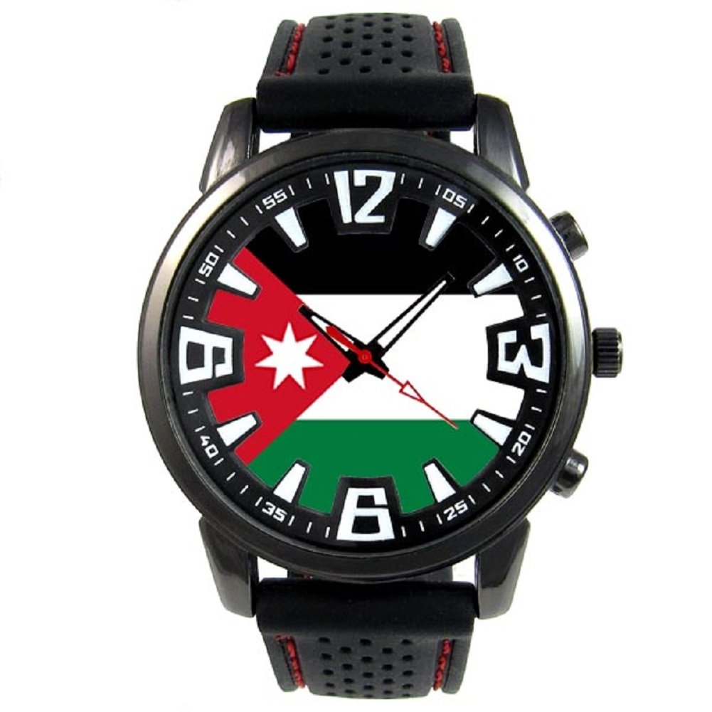Timest - Jordan Country Flag - Mens Black Jelly Silicone Wrist Watch Round Analog Quartz SF115 by Timest