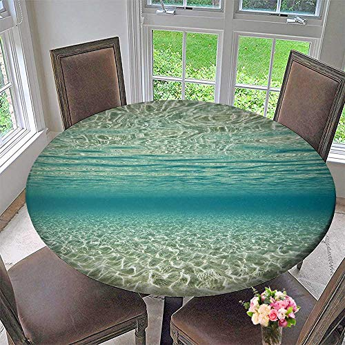 """PINAFORE HOME Circular Table Cover Underwater Scene for Wedding/Banquet 47.5""""-50"""" Round (Elastic Edge)"""