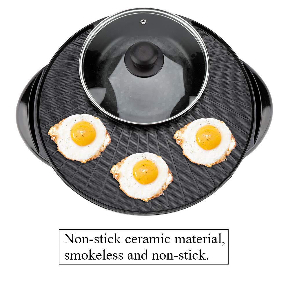 Elektrische Hot Pot Grillpfanne Praktische Durable 1500 Watt 2 In 1 Multifunktionale Home Restaurant K/üche Elektrische Pan Hot Pot Grill Braten Koch Grill