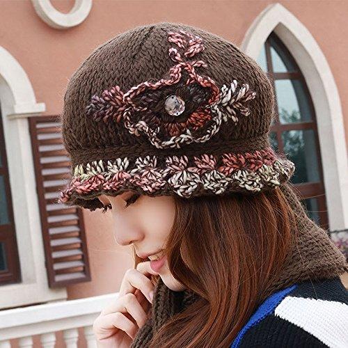 Sombreros de mujer invierno plus gorro de lana tejida de lana de ...