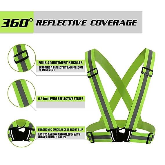 powertiger 2 Pack reflectante chaleco ligero, ajustable y elástica ...