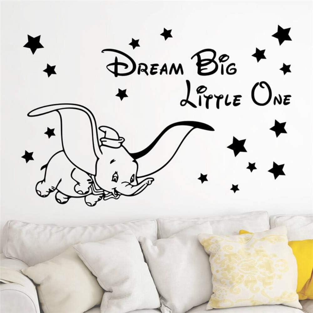 pegatinas de pared Lindo elefante durmiendo en la luna nubes sonrientes rosa nubes dise/ño de estrellas pegatinas de pared removibles decoraci/ón de pared para habitaci/ón de ni/ños