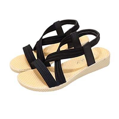 iFANS Women's Gladiator Lace Up Flat Sandals | Flats