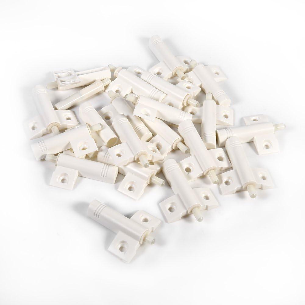 20pcs Amortiguadores para armario, puerta, cajón, muebles, Cierre silencioso suave Tope de puerta Reduzca el ruido para armarios/cajones y puertas(White)