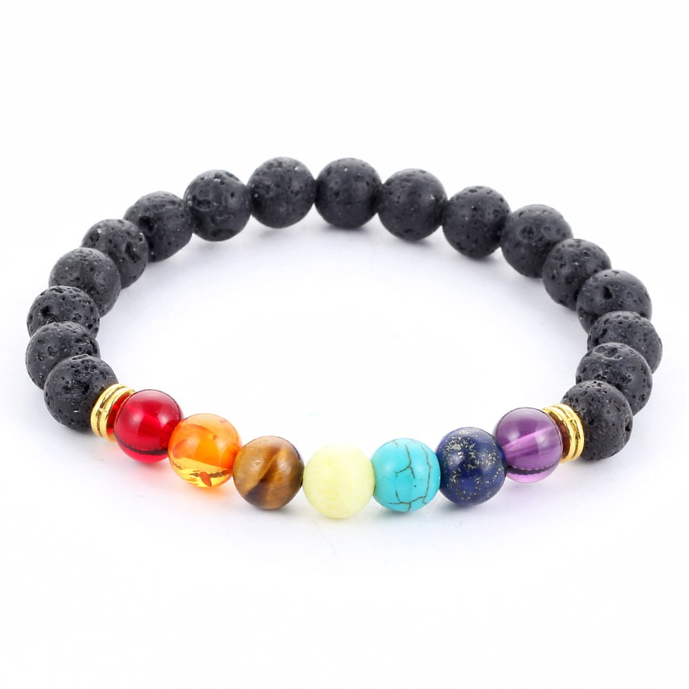 Gmai 7 Chakras Gemstone Bracelet Natural Stones Volcanic Lava, Mala Meditation Yoga Healing Balancing Round Beads Gmai Jewlry 16BR170
