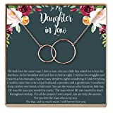 Dear Ava Daughter-In-Law Gift Necklace: Wedding Gift, Jewelry From Mother-In Law, Gift for Bride, 2 Interlocking Circles (rose-gold-plated-brass, NA)