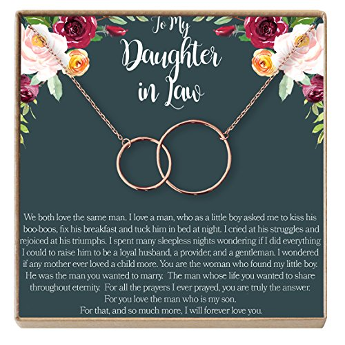Dear Ava Daughter-In-Law Gift Necklace: Wedding Gift, Jewelry From Mother-In Law, Gift for Bride, 2 Interlocking Circles (rose-gold-plated-brass, NA) by Dear Ava