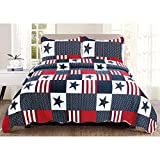 LV 3 Piece White Red Blue Stars and Stripes Quilt Full Queen Set, Patriotic American Flag Inspired Themed Bedding America Star Stripe Patchwork Dot Striped Patch Work Motif Pattern, Polyester