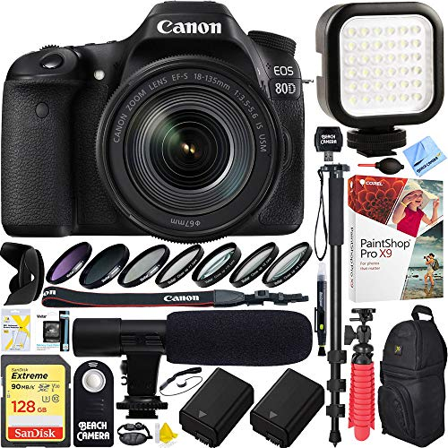 - Canon EOS 80D 24.2 MP CMOS Digital SLR Camera w/EF-S 18-135mm f/3.5-5.6 is USM Lens (1263C006) with 128GB SDXC Dual Battery & Shotgun Mic Pro Mobile Video Bundle
