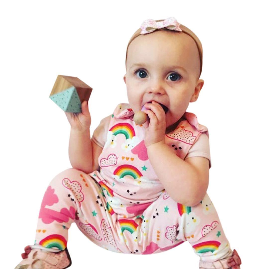 SamMoSon Pagliaccetto Neonato Pagliaccetto Ragazze Arcobaleno / Nuvole / Stampare Romper Lettera Tuta Pagliaccetto Abiti Set Outfit