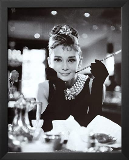 Professionally framed audrey hepburn breakfast at tiffanys movie poster 16x20 with richandframous black wood frame