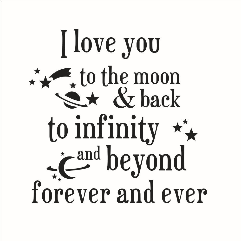 Fange DIY Removable I Love You to the Moon Back to Infinity Love Quotes Art Mural Vinyl Waterproof Wall Stickers Bed Kids Room Decor Livingroom Nursery Decal Sticker Wallpaper 20.9''x20.7'' by Fange (Image #1)