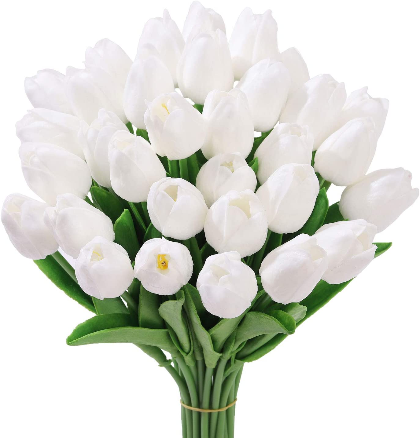 Qiddo 20 Pcs Artificial Flowers Real Touch Tulips in White Wedding Bouquets Flowers Fake Tulips PU Plants Flowers Arrangement Bouquet Home Room DIY Centerpiece Party Wedding Decor(White)