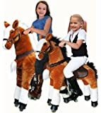 UFREE Large Mechanical Rocking Horse Toy, Ride on Bounce up and Down and Move, 44'' for Children 4 to 15 Years Old (Black Mane and Tail)