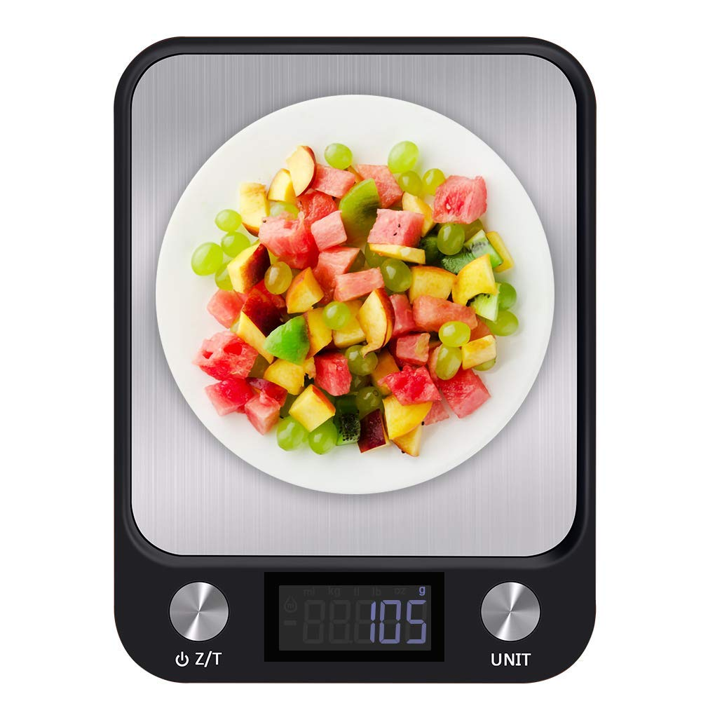 Food Scale,Kitchen Digital Food Scale with High Precision Grams Accuracy 1g to 10 kg Waterproof ,Auto Off,Tare,Stainless Steel Cooking Scales with Large LCD Display(Batteries Included)-Silver