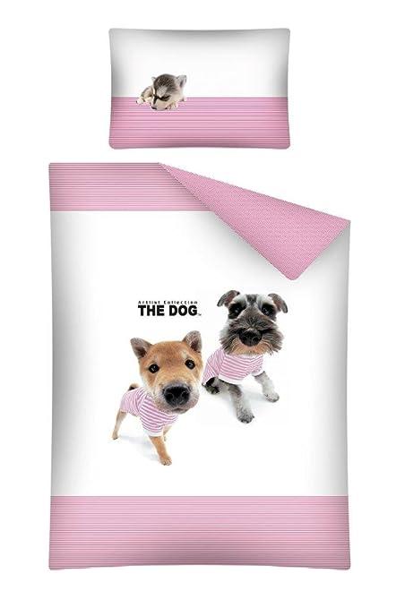 The Dog – Juego de cama bebé perro cachorro algodón – Funda de edredón funda de