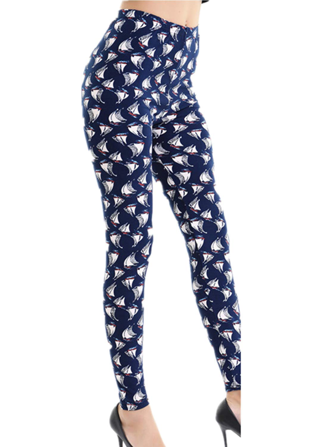ZZpioneer Yoga Pants for Women High Waist Tight Trousers Casual Starry Printed Tummy Control Leggings Pencil Pants(One Size,Multicolor-4)
