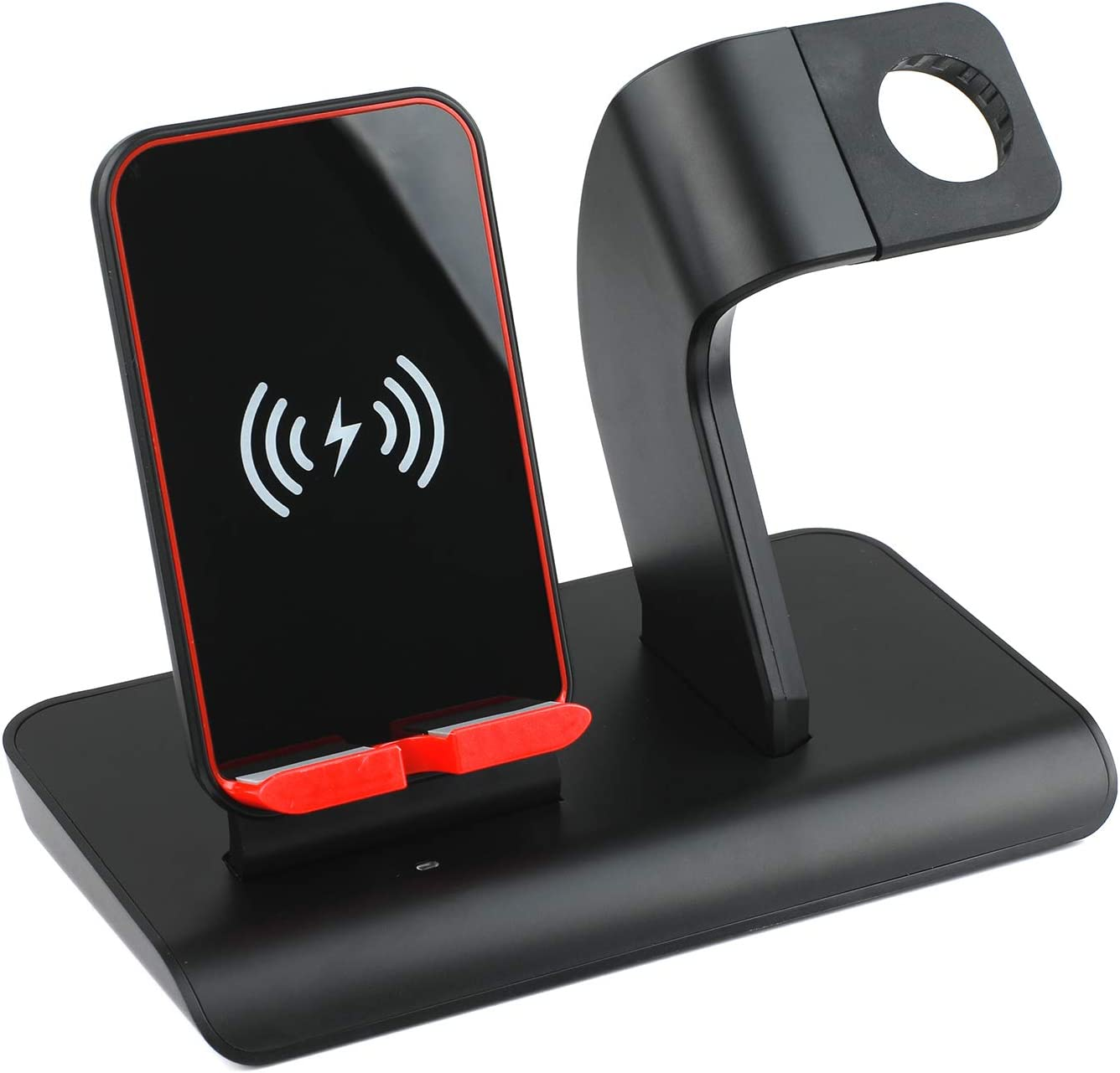 Co-Goldguard Wireless Charging Stand 2 in 1 Charger Station for iPhone Charging Stand Holder for iWatch Series 1 2 3 iPhone X XS MAX 8 Plus Black Red