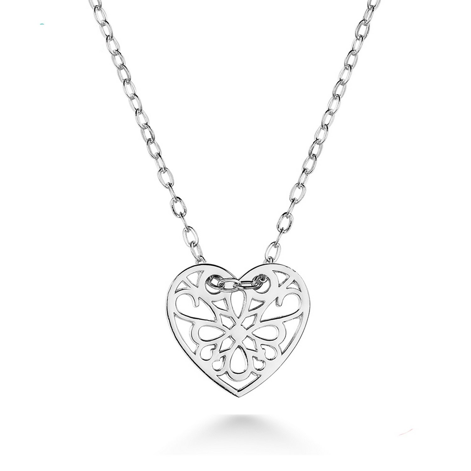 CS-DB Jewelry Silver Hollow Flower Heart Shape Chain Charm Pendants Necklaces