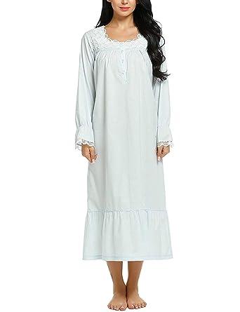 info for 6685b f357b ADOME Damen Kleid Nachthemd Baumwolle Viktorianischer Stil Schlafkleid  Hauskleid Negligee Langarm Lange Schlafanzüge