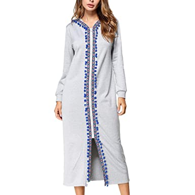 Zhhlinyuan Womens Floral Printed Hooded Dress Middle East Kaftan Irregular Dresses